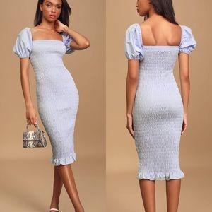 NWT Lulus Light Blue Smocked Bodycon Midi Dress